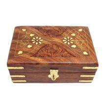 Cutie din lemn cu elemente de alama - 15x10x6 cm