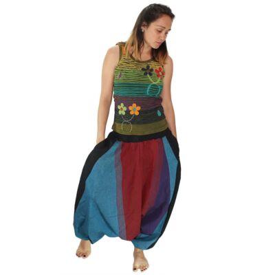 Pantaloni yoga tip salvari - Albastru si Bordo
